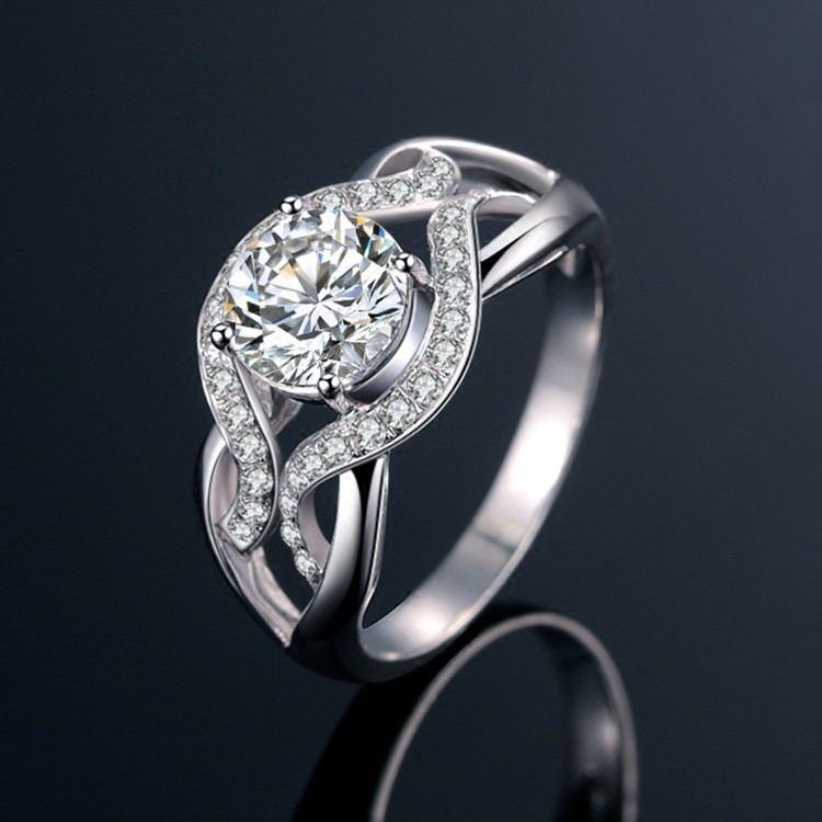 925 Sterling Silber Vier Pfoten Weben Fest Eleganten Bogen Des Verlobungsrings