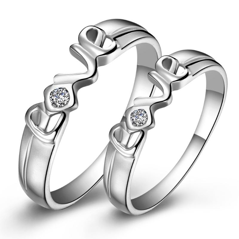 """Boutique New Hot Sale S925 Silber """"With You"""" Paar Ringe"""