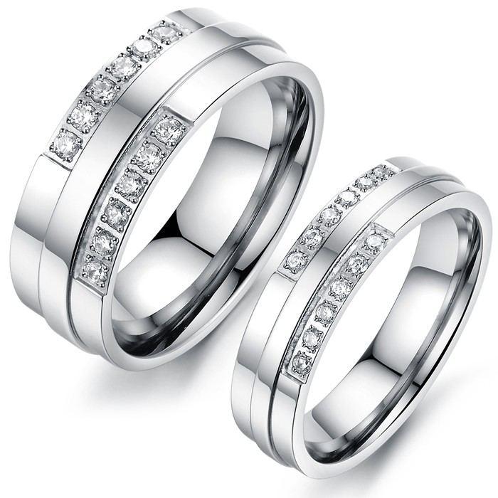 Einfache Titan-Stahl-Liebesringe Für Paare