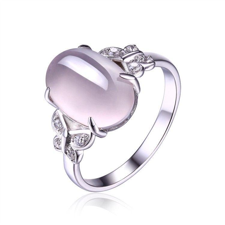 Elegante Mode Exquisite Schmetterlingskante S925 Silber Eingelegt Ross Quarz Ring