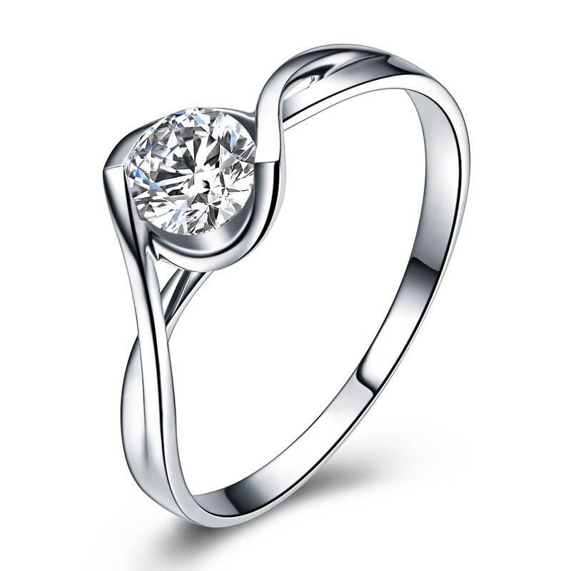 Engelskuss 925 Sterling Silber Zarter Prozess Plattiert 18 Karat Weißgold Verlobungsring
