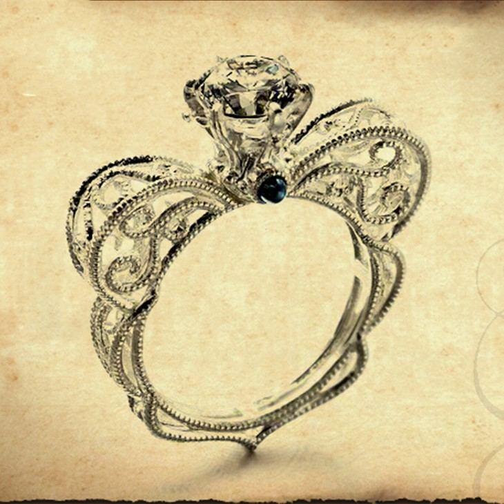 Europa Court Style Schmetterlingsform 1CT Sona Diamant Verlobungsring