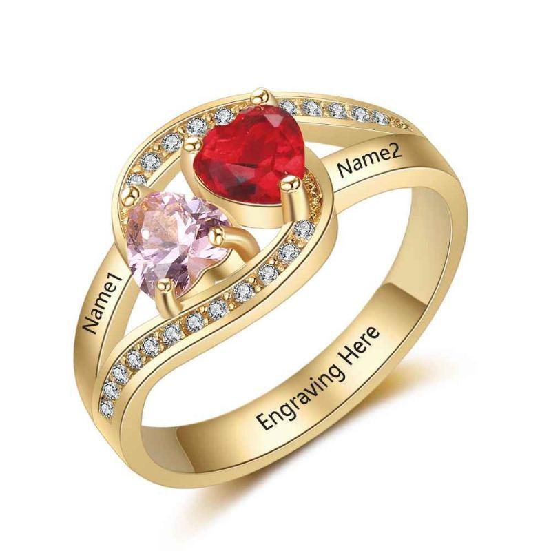 Gold Geburtsstein Ringe Mütter Ringe 925 Sterling Silber Personalisierte Geburtsstein Familie Zirkonia Ring Muttertagsgeschenk