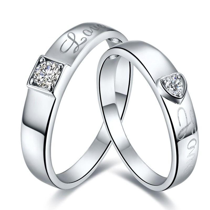 Hochwertige Boutique 925 Sterlingsilber Vergoldet Eingelegte CZ Paar Ringe