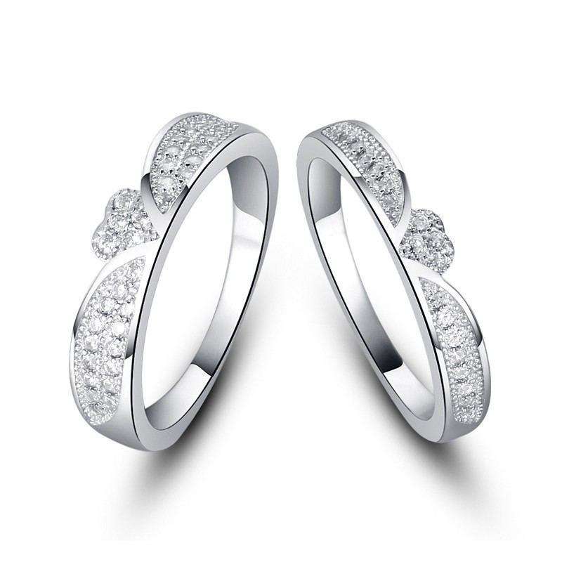 Koreanische Mode 925 Sterling Silber Eingelegt CZ Verlobungsring Set