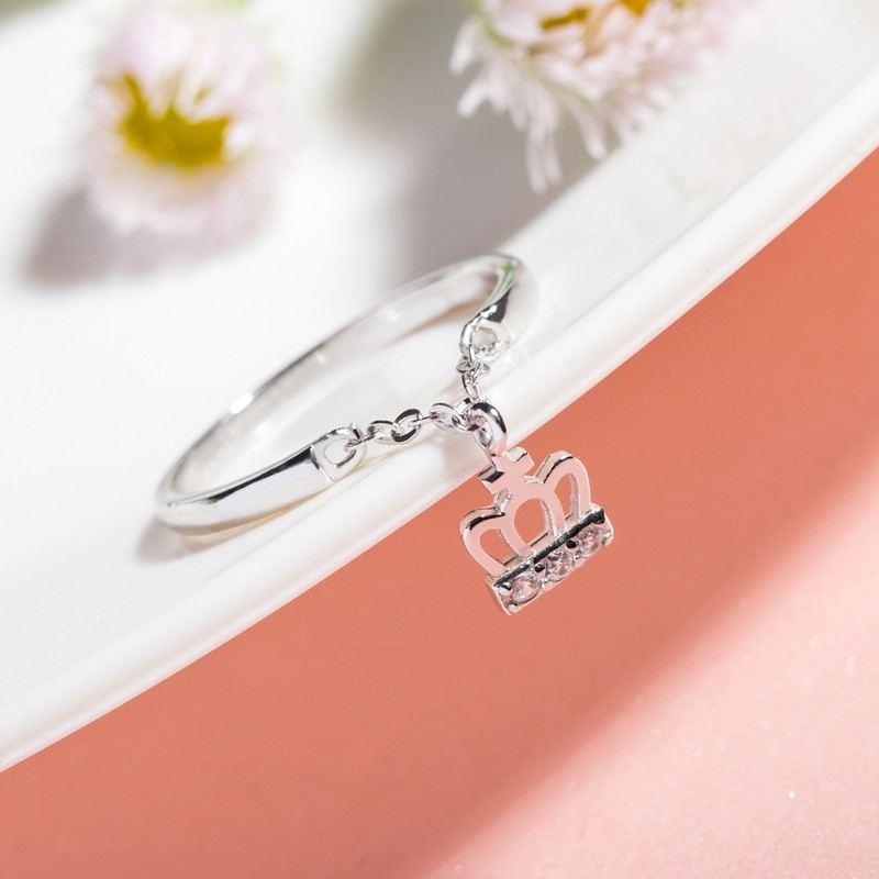 Original Design Süße Krone Eingelegte Zirkonia S925 Sterling Silber Ring Eingelegt