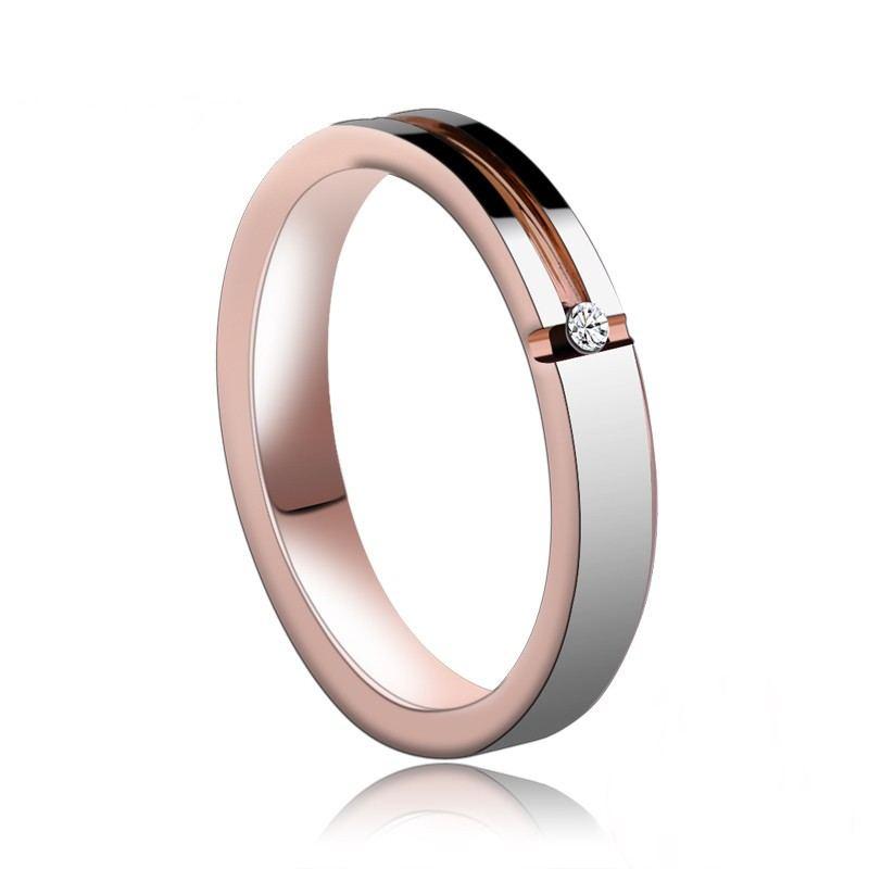 Personalisierter Rosévergoldeter Einfacher Wolfram-Unisex-Ring