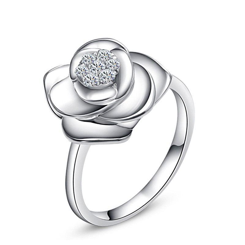 Verlobungsring Aus 925Er Sterlingsilber In Reiner Und Edler Blütenform